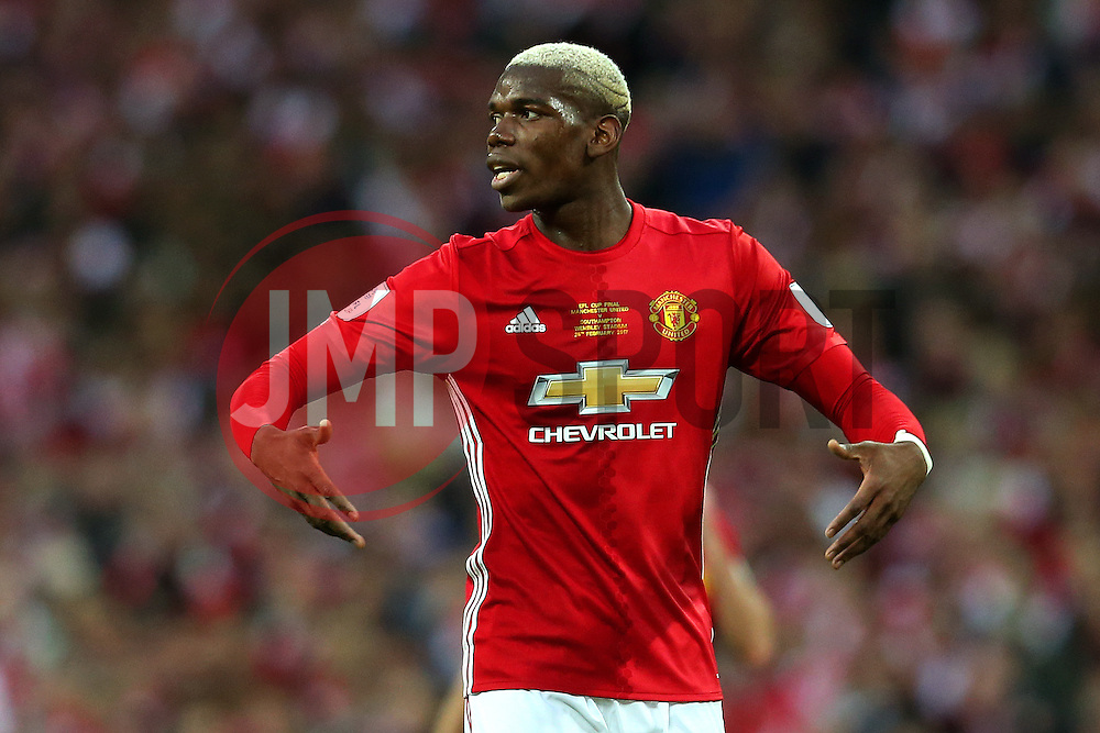 Paul Pogba of Manchester United gestures - Mandatory by-line: Matt McNulty/JMP - 26/02/2017 - FOOTBALL - Wembley Stadium - London, England - Manchester United v Southampton - EFL Cup Final