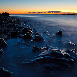 Dawn over the Atlantic Ocean in Fort Foster park in Kittery, Maine.