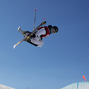 Hiroo Wada, Japan, in action in the Halfpipe Finals during The North Face Freeski Open at Snow Park, Wanaka, New Zealand, 3rd September 2011. Photo Tim Clayton...