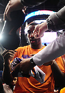 Jan. 7 2011; Phoenix, AZ, USA; New York Knicks forward Amar'e Stoudemire signs autographs for fans at the US Airways Center. The Knicks defeated the Suns 121-96. Mandatory Credit: Jennifer Stewart-US PRESSWIRE.