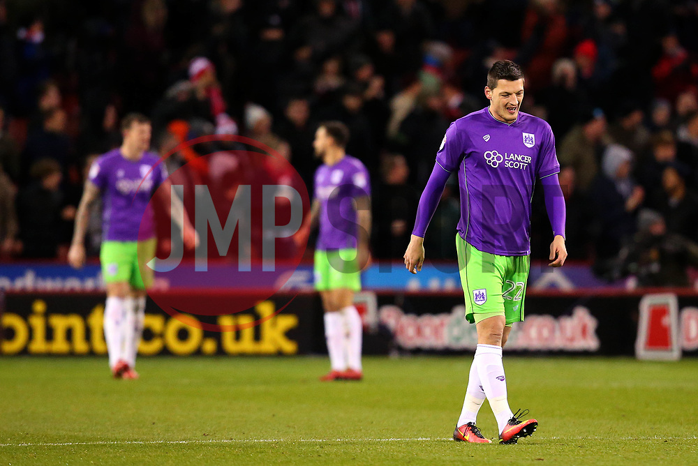 Milan Djuric of Bristol City cuts a frustrated figure after his side concede a goal - Mandatory by-line: Robbie Stephenson/JMP - 08/12/2017 - FOOTBALL - Bramall Lane - Sheffield, England - Sheffield United v Bristol City - Sky Bet Championship