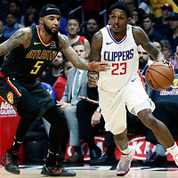 08 January 2018: LA Clippers guard Lou Williams (23) drives past Atlanta Hawks guard Malcolm Delaney (5) during the LA Clippers 108-107 victory over the Atlanta Hawks, at the Staples Center, Los Angeles, California, USA.