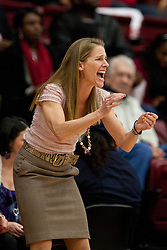 March 19, 2011; Stanford, CA, USA; St. John's Red Storm head coach Kim Barnes Arico on the sidelines against the Texas Tech Lady Raiders during the first half of the first round of the 2011 NCAA women's basketball tournament at Maples Pavilion. St. John's defeated Texas Tech 55-50.