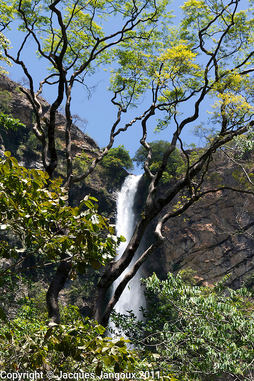 Itiquira waterfall (salto do Itiquira) (168m tall) in Brazilian Highlands, Goias State, Brazil. Rio Itiquira is a tributary of Rio Paranã, in Rio Tocantins basin.