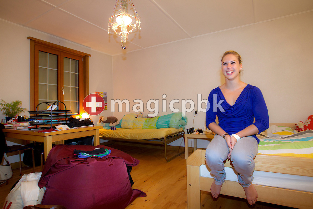 Artistic gymnastics athlete Giulia STEINGRUBER shows her room in the house of her host family in Biel, Switzerland, Monday, Aug. 29, 2011. (Photo by Patrick B. Kraemer / MAGICPBK)