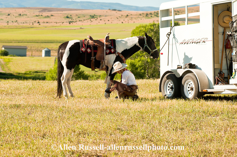 Cowgirl, Susan Turner, grooms, saddles, puts protective boots on horse