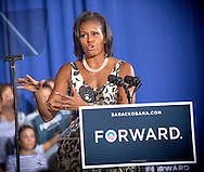 Michelle Obama speaks at a grassroots campaign rally Thursday Aug. 9, 2012, in Fort Washington, Pa.