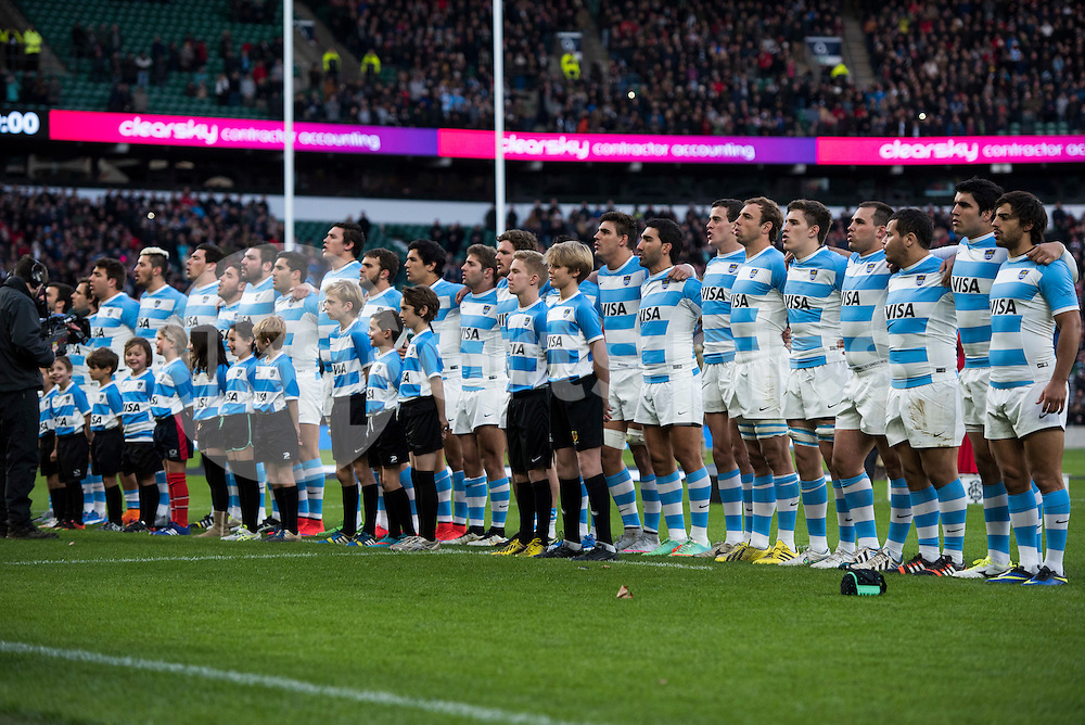 Argentina sing their national anthem ahead of the Killik Cup match between Barbarians and Argentina at Twickenham Stadium, Twickenham, United Kingdom on 21 November 2015. Photo by Brandon Griffiths.