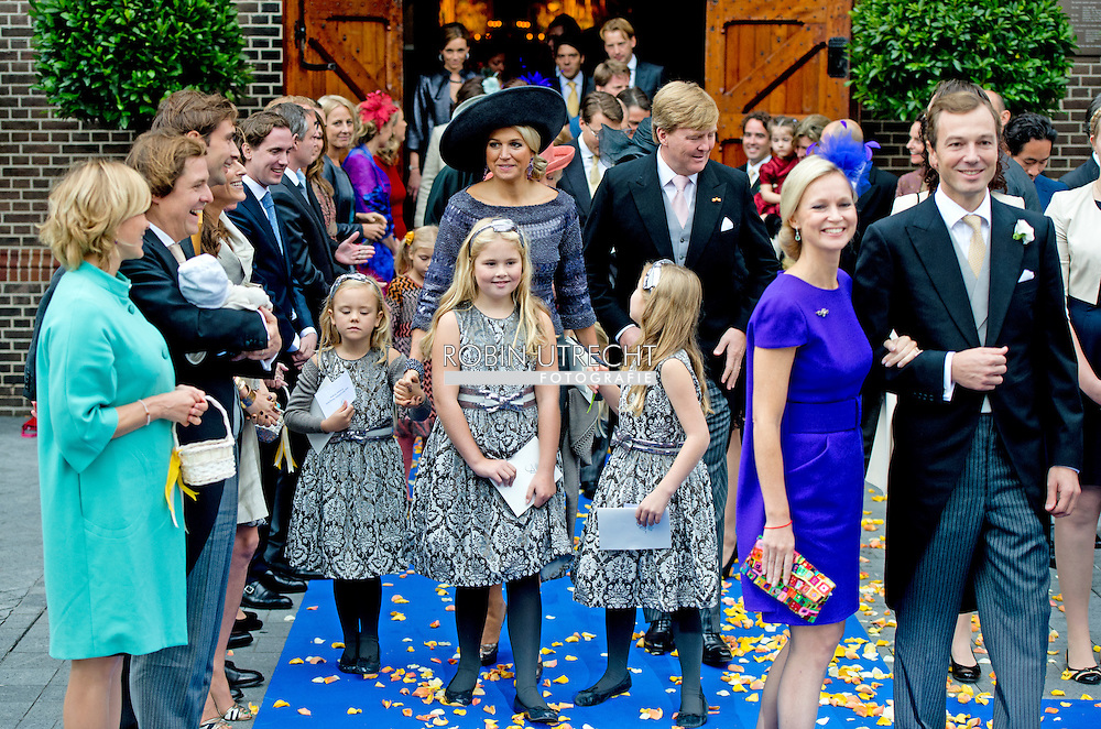 Netherlands, Apeldoorn, 5 October 2013 - church wedding of HRH Prince Jaime with Viktoria Cservenyak Onze Lieve Vrouwe ten Hemelopening in Apeldoorn. King Willem-Alexander, queen Maxima, princess Amalia, Alexia, Ariana .COPYRIGHT ROBIN UTRECHT