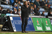 Wycombe Wanderers manager Gareth Ainsworth gives instructions 2-0 during the EFL Sky Bet League 2 match between Coventry City and Wycombe Wanderers at the Ricoh Arena, Coventry, England on 22 December 2017. Photo by Alan Franklin.