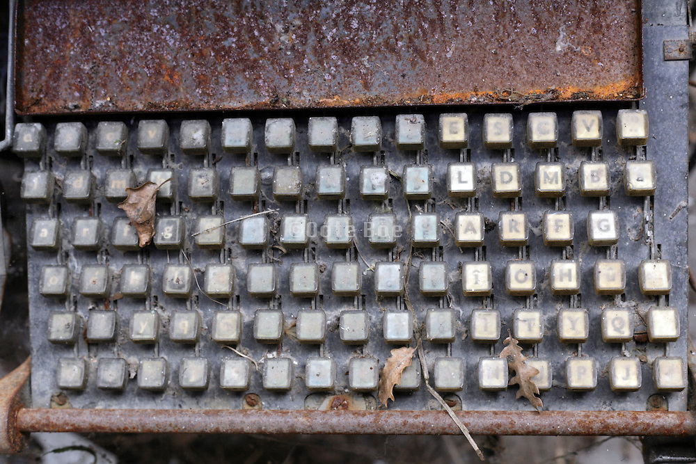 rusted keyboard on a type setting machine