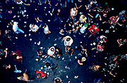 View looking down from balcony and litter and crowd. Astoria 1999