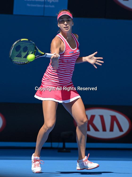 Belinda Bencic (SUI) round 1 action<br /> 2015 Australian Open Tennis <br /> Grand Slam of Asia Pacific<br /> Melbourne Park, Vic Australia<br /> Monday 19 January 2015<br /> &copy; Sport the library / Jeff Crow