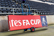 The FA Cup signage makes it way through the KCOM Stadium to be set up for the The FA Cup match between Hull City and Chelsea at the KCOM Stadium, Kingston upon Hull, England on 25 January 2020.
