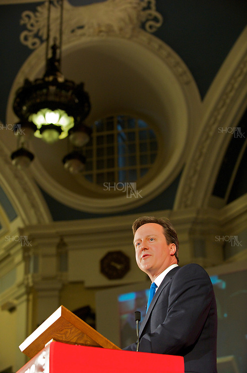 Britain's opposition Conservative Party leader, David Cameron give a speech in the Citizens UK General Election Assembly, organised by  Citizens UK, at the Methodist Centre Hall, Westminster on May 3, 2010 in London, England