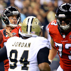 Oct 15, 2015; New Orleans, LA, USA; Atlanta Falcons quarterback Matt Ryan (2) throws as New Orleans Saints defensive end Cameron Jordan (94) pressures during the first quarter of a game at the Mercedes-Benz Superdome. Mandatory Credit: Derick E. Hingle-USA TODAY Sports