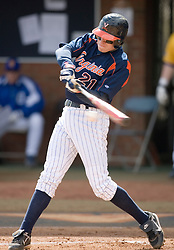 Virginia Cavaliers pitcher/firstbaseman Sean Doolittle (21) at bat against Delaware.  The Virginia Cavaliers Baseball Team defeated the Delaware Blue Hens 3-2 to complete the sweep of a three game series at Davenport Field in Charlottesville, VA on March 4, 2007.