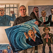 Anti-Trump political painting by Phil Levine,the &quot;toxic political environment and the corrupt human beings in charge of it are his inspiration. They are expressing the rampant immorality and corruption that exists in this administration.&quot;<br /> <br /> top left: Tax Returns Anyone?<br /> top right: kiss Ass<br /> center: The Blue Wave <br /> center right: Putin's Little General