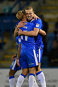 Gillingham FC forward Tom Eaves (9) celebrates with team mate Gillingham FC midfielder Lee Martin (11) after scoring a goal (1-0) during the EFL Sky Bet League 1 match between Gillingham and Wigan Athletic at the MEMS Priestfield Stadium, Gillingham, England on 17 October 2017. Photo by Martin Cole.