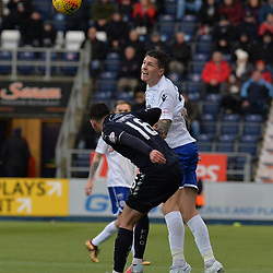 Reghan Tumilty (Falkirk) and Lyndon Dykes (Queen of the South) during the Scottish Championship clash between Falkirk and Queen of the South at the Falkirk Stadium, where the home side pulled off a shock win.<br /> <br /> (c) Dave Johnston | sportPix.org.uk