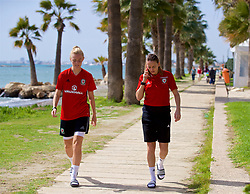 LARNACA, CYPRUS - Thursday, March 1, 2018: Wales' captain Sophie Ingle and Kayleigh Green during a team walk around the Palm Beach Hotel & Bungalows in Larnaca on day three of the Cyprus Cup tournament. (Pic by David Rawcliffe/Propaganda)