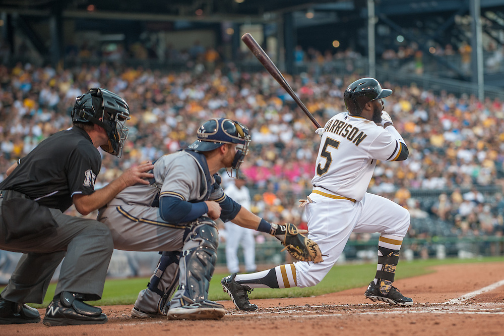 PITTSBURGH, PA - JUNE 08: Josh Harrison #5 of the Pittsburgh Pirates bats during the game against the Milwaukee Brewers at PNC Park on June 8, 2014 in Pittsburgh, Pennsylvania. (Photo by Rob Tringali) *** Local Caption *** Josh Harrison