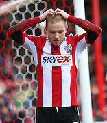 Alex PRITCHARD missing chance to put Brentford in front during the Sky Bet Championship match between Brentford and Bournemouth at Griffin Park, London, England on 21 February 2015. Photo by Matthew Redman.