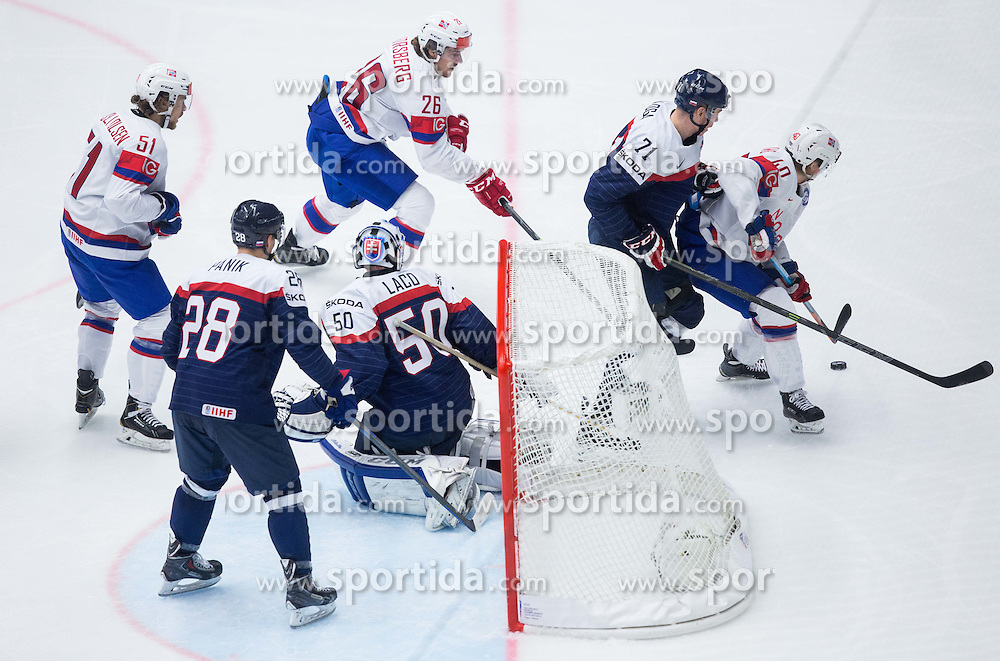 Mats Rosseli Olsen of Norway, Richard Panik of Slovakia, Jan Laco of Slovakia, Kristian Forsberg of Norway, Marek Daloga of Slovakia and Ken Andre Olimb of Norway during Ice Hockey match between Slovakia and Norway at Day 6 in Group B of 2015 IIHF World Championship, on May 6, 2015 in CEZ Arena, Ostrava, Czech Republic. Photo by Vid Ponikvar / Sportida