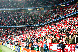 Munich, Germany - Wednesday, March 7, 2007:  Bayern Munich's fans during the UEFA Champions League First Knock-out Round 2nd Leg at the Allianz Arena. (Pic by Christian Kolb/Propaganda/Hochzwei) +++UK SALES ONLY+++