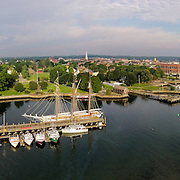 The tall ship Lynx docked at the commercial fishing pier in Portsmouth, NH