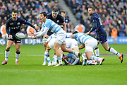 Gonzalo Bertranou passes tracked by Greig Laidlaw during the Autumn Test match between Scotland and Argentina at Murrayfield, Edinburgh, Scotland on 24 November 2018.