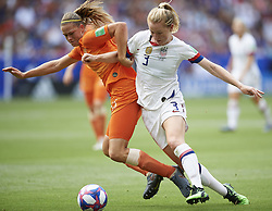 July 7, 2019 - Lyon, France - Anouk Dekker (Montpellier HSC) of Netherlands and Samantha Mewis (NC Courage) of United States competes for the ball during the 2019 FIFA Women's World Cup France Final match between The United State of America and The Netherlands at Stade de Lyon on July 7, 2019 in Lyon, France. (Credit Image: © Jose Breton/NurPhoto via ZUMA Press)