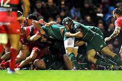 A scrum collapses - Photo mandatory by-line: Patrick Khachfe/JMP - Mobile: 07966 386802 07/12/2014 - SPORT - RUGBY UNION - Leicester - Welford Road - Leicester Tigers v Toulon - European Rugby Champions Cup