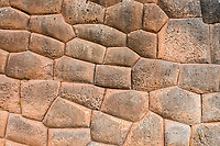 stone wall in Chincheros town in the peruvian Andes at Cuzco Peru