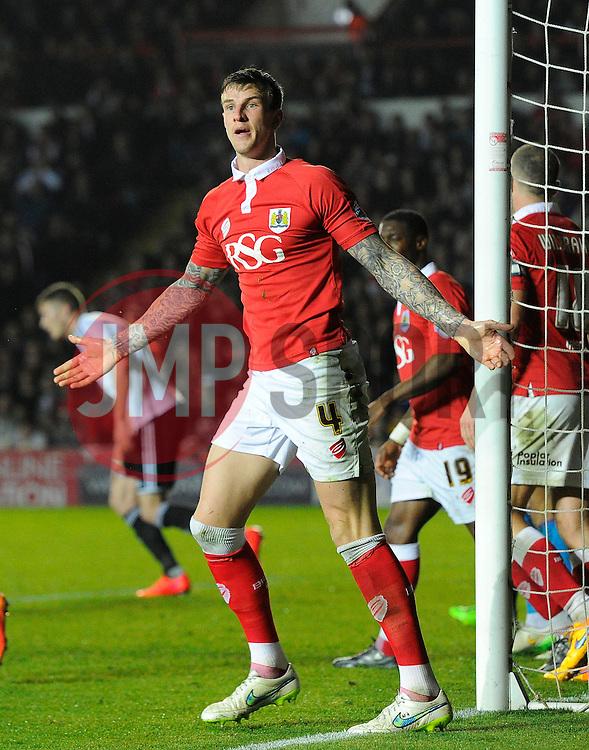 Bristol City's Aden Flint appeals  - Photo mandatory by-line: Joe Meredith/JMP - Mobile: 07966 386802 - 07/04/2015 - SPORT - Football - Bristol - Ashton Gate - Bristol City v Swindon Town - Sky Bet League One