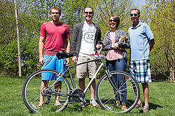 10 May 2014:  Matt Schweinberg (2nd from left) photo contest winner is accompanied by brother in law on left, sister and father on right at 25th anniversary celebration of the Constitution Trail ceremony at Connie Link Amphitheater in Normal Illinois