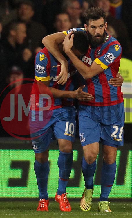 Crystal Palace's Joe Ledley and Fraizer Campbell celebrate - Photo mandatory by-line: Robbie Stephenson/JMP - Mobile: 07966 386802 - 14/02/2015 - SPORT - Football - London - Selhurst Park - Crystal Palace v Liverpool - FA Cup - Fifth Round