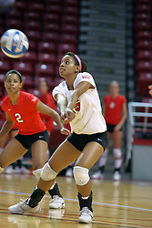28 September 2008: Rachelle Dejean stoops left to pass an incoming ball to the front row. The Braves took the first set, but the Illinois State Redbirds grabbed 3 sets in a row to win the match 3 sets to 1. The Bradley Braves visited the Illinois State Redbirds at Redbird Arena on the campus of Illinois State University in Normal Illinois.