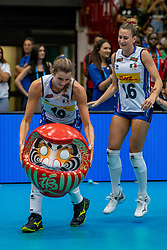 04-08-2019 ITA: FIVB Tokyo Volleyball Qualification 2019 / Netherlands, - Italy Catania<br /> last match pool F in hall Pala Catania between Netherlands - Italy for the Olympic ticket. Italy win 3-0 and take the ticket to the Olympics / Ticket Japan celebrate Italy Cristina Chirichella#10 of Italy, Lucia Bosetti #16 of Italy