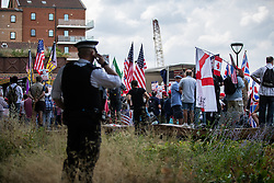 "© Licensed to London News Pictures. 14/07/2018. London, UK. Supporters of US President Donald Trump and EDL founder Tommy Robinson ( real name Stephen Yaxley-Lennon ) hold a "" Welcome Trump "" demonstration opposite the American Embassy . Trump is currently in Scotland and Robinson is in HMP Hull . Photo credit: Joel Goodman/LNP"