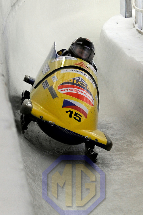 15 December 2007:    The Czech Republic sled driven by Ivo Danilevic with Jan Stoklaska on the brakes  competes at the FIBT World Cup Men's bobsled competition on December 15, 2007 at the Olympic Sports Complex in Lake Placid, NY.  The race was won by Lueders and Brown in the Canada 1 sled with a time of 1:50.64.