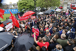 © Licensed to London News Pictures. 18/05/2017. London, UK. Labour party leader Jeremy Corbyn addresses a campaign rally in Southall on the same day that Prime Minister Theresa May launched the Conservative Party manifesto. Photo credit: Peter Macdiarmid/LNP