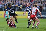 Bath fly half Rhys Priestland (10) passes the ball to the wing during the Aviva Premiership match between Bath Rugby and Gloucester Rugby at the Recreation Ground, Bath, United Kingdom on 29 October 2017. Photo by Gary Learmonth.