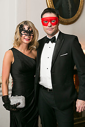 01 November 2013 Sarah O'Gorman and Alex McGuickian pictured at the Irish Cancer Society Masquerade Ball in the Shelbourne Hotel. For more information or to support the Irish Cancer Society please visit www.cancer.ie . Picture Andres Poveda