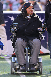 Dec 24, 2011; East Rutherford, NJ, USA; Former Rutgers Scarlet Knights player Eric Legrand on the sidelines before the first half of the game between the New York Giants and New York Jets at MetLife Stadium.
