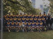 Wexford-All-Ireland Hurling Champions 1996. Back Row: Seamus Kavanagh, Rod Guiney, Joe Kearns, George O'Connor, Tomas Codd, Ger Cushe, Paul Finn, Larry Murphy, Shane Carley, Declan Ruth, Seamus Barron (Selector). Middle Row: Sean Collier, Dave Guiney, Michael Jordan, Liam Turley, Larry O'Gorman, Jim Byrne, Adrian Fenlon, Billy Byrne, Garry Laffan, Tom Dempsey, Paul Codd, Rory Kinsella (Selector), John O'Leary. Front Row: Niamh Fitzpatrick, Paddy Wickham (Co Chairman), Eamonn Scallon, M J Reck, Rory McCarthy, Damien Fitzhenry, Martin Storey (Capt), Sean Flood, Tommy Kehoe, Colm Kehoe, Liam Dunne, Liam Griffin (Manager).