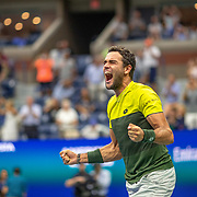 2019 US Open Tennis Tournament- Day Ten.  Matteo Berrettini of Italy celebrates his fifth set tie break win against Gael Monfils of France in the Men's Singles Quarter-Finals match on Arthur Ashe Stadium during the 2019 US Open Tennis Tournament at the USTA Billie Jean King National Tennis Center on September 4th, 2019 in Flushing, Queens, New York City.  (Photo by Tim Clayton/Corbis via Getty Images)
