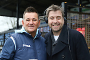 Paul Doswell Sutton United FC Manager and Broadcaster Mark Chapman prior the The FA Cup match between Sutton United and AFC Wimbledon at Gander Green Lane, Sutton, United Kingdom on 7 January 2017. Photo by Stuart Butcher.
