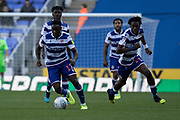 Andy Yiom (17) of Reading and Ovie Ejaria (14) of Reading during the EFL Sky Bet Championship match between Reading and Preston North End at the Madejski Stadium, Reading, England on 19 October 2019.