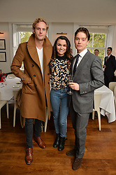 Left to right, JACK FOX, SAMANTHA BARKS and FREDDIE FOX at a lunch to promote the jewellery created by Luis Miguel Howard held at Morton's, Berkeley Square, London on 20th October 2016.